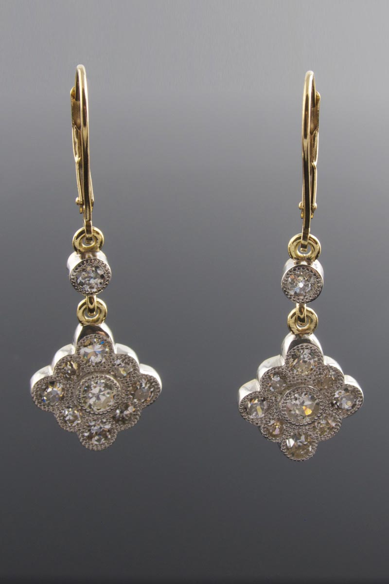 Vintage style old cut diamond drop earrings