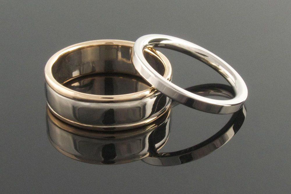 Palladium And Rose Gold Wedding Rings