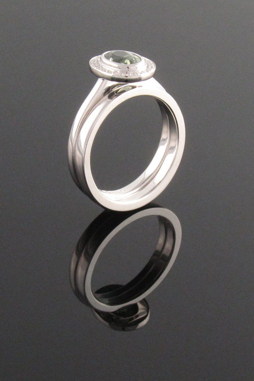 rings angle bezel gold set half wedding p in band mens white