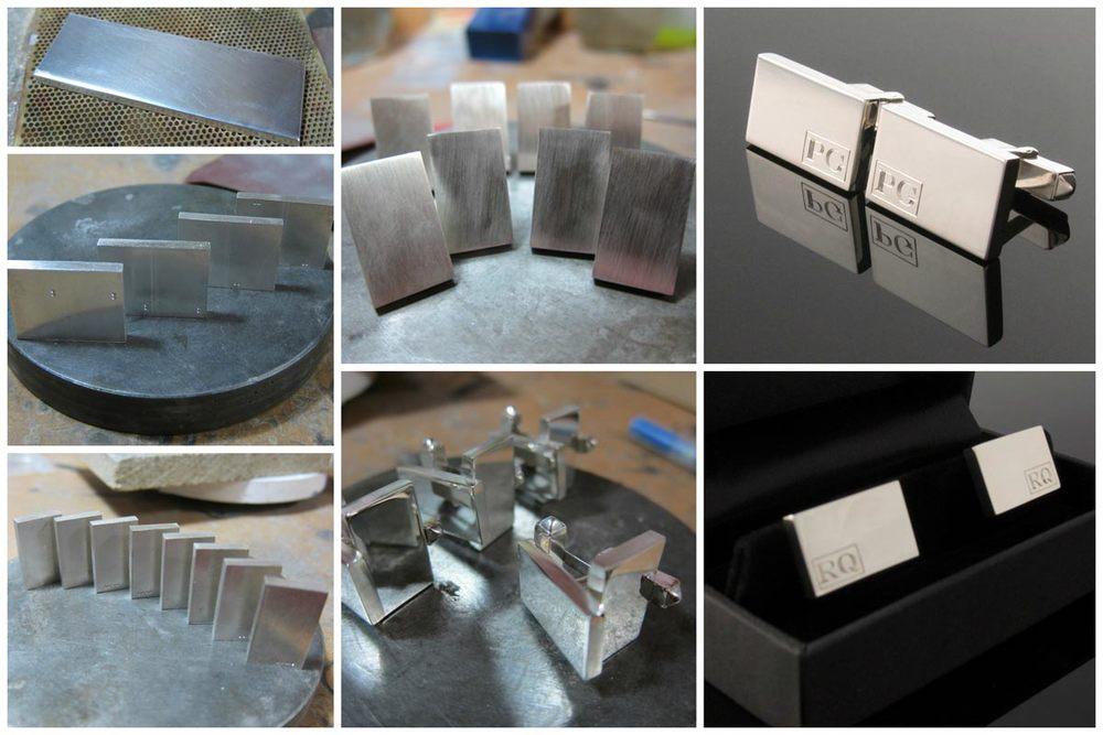 Handmade rectangular monogrammed cufflinks