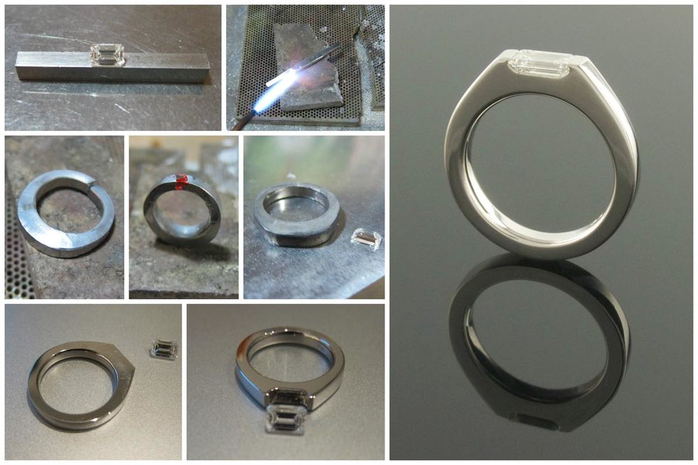 Handmaking a palladium solitaire engagement ring