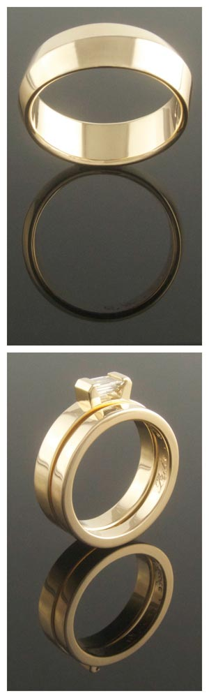 Asymmetrical wedding ring, diamond solitaire and matching wedding band