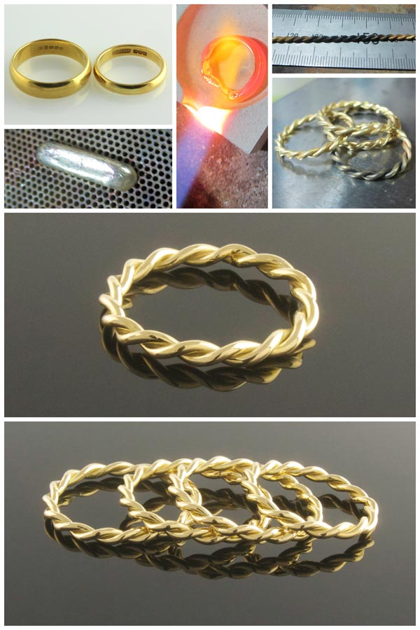 Twisted 18ct yellow gold rings