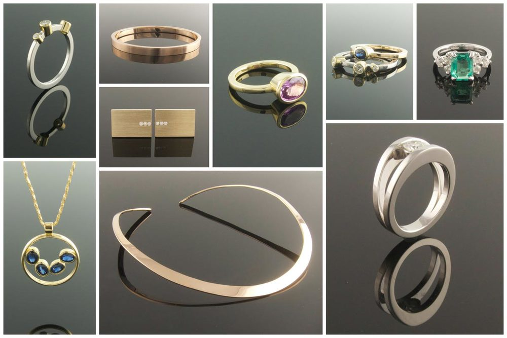 Engagement rings, pendant, torc, bangle and cufflinks made from new and recycled materials