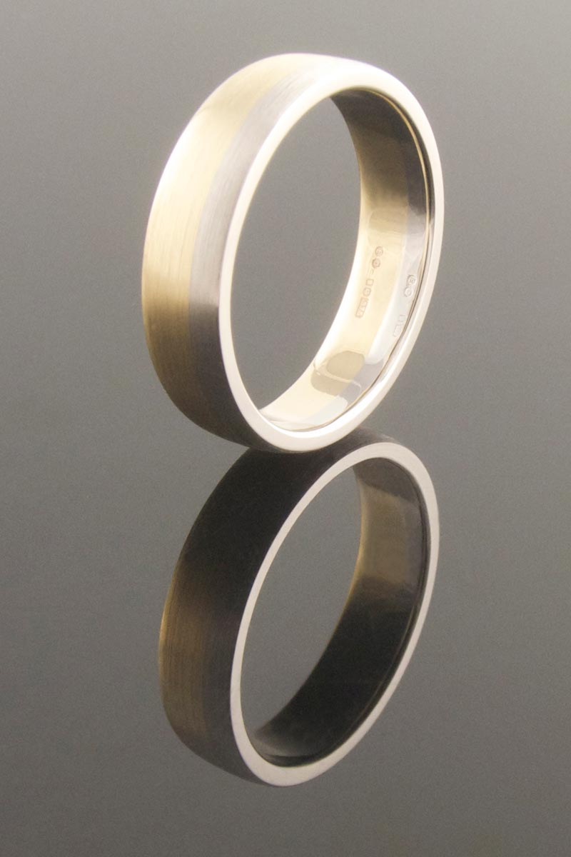 Recycled gold and platinum ring - brushed finish