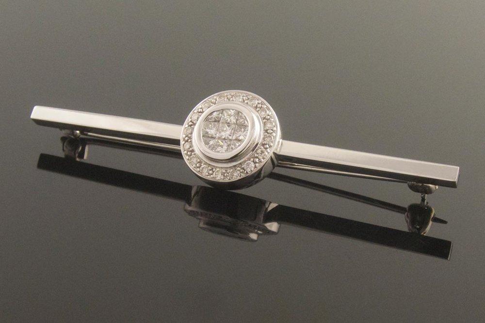 Diamond cluster bar brooch