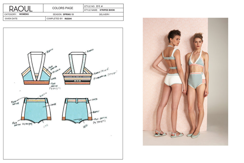 Technical pack and final result, vintage-inspired knit bikini.