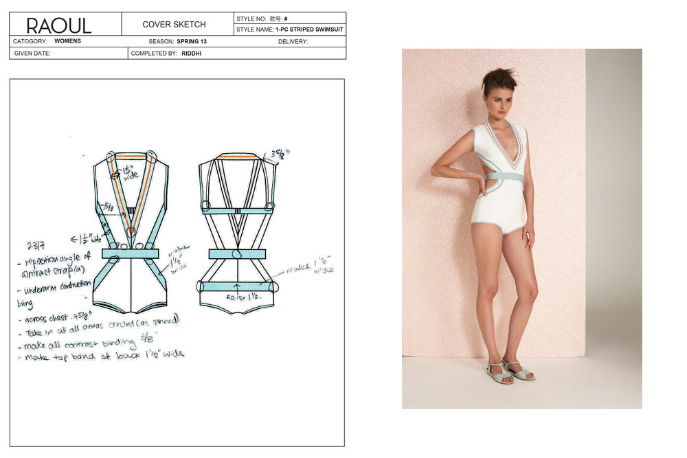 Technical pack and final result, vintage-inspired knit swimsuit.