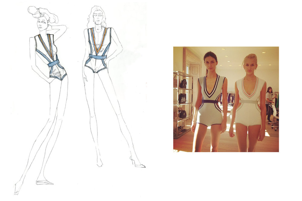 Initial sketch and samples of vintage-inspired, knitted swimsuit.