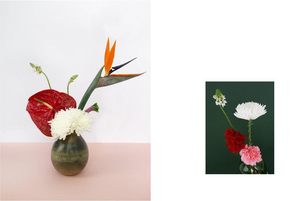 Clustered flowers amongst a single Bird of Paradise creates an abstract, sculptural arrangement.