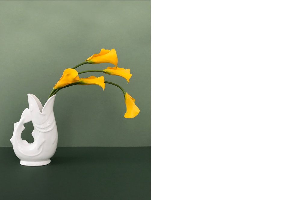 Grounded by a singing fish vase, the curved stems of calla lilies suggest linear movement.