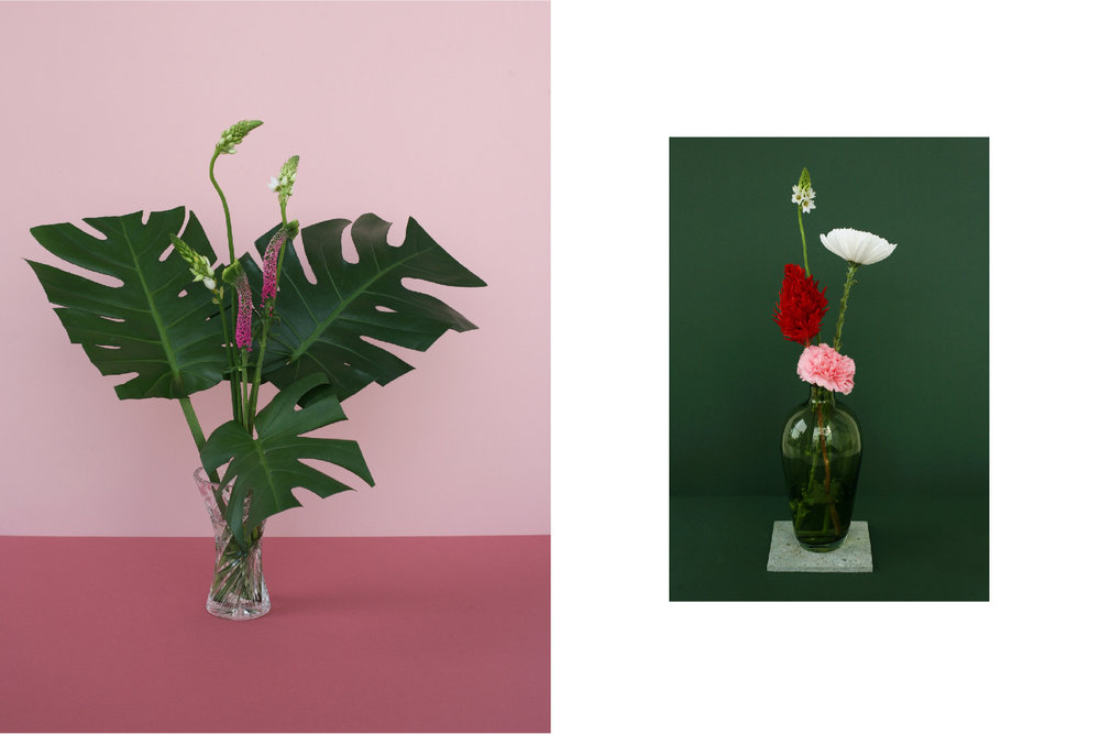 Arrangements with height and exposed stems.Large, flat leaves in manicured shapes add mass and texture.