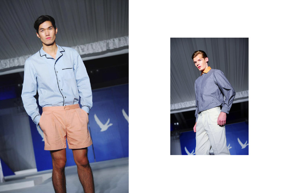 Looks designed for They Grey Goose Guild, consisting of pajama shirts, fitted trousers and high-thigh cut city shorts.