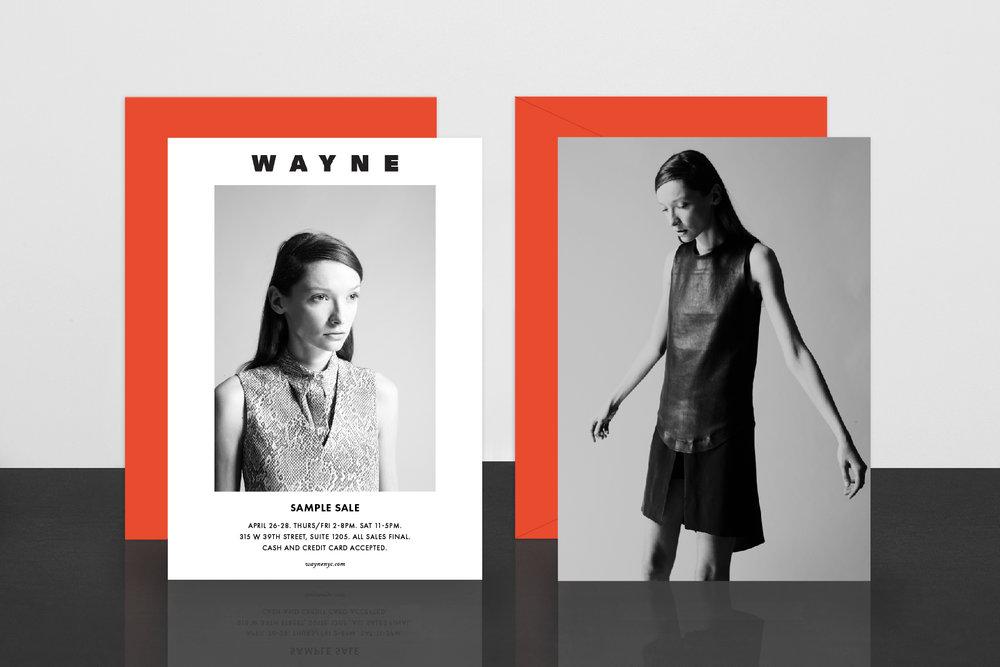Sample sale invitation design,with orange mailing envelope.