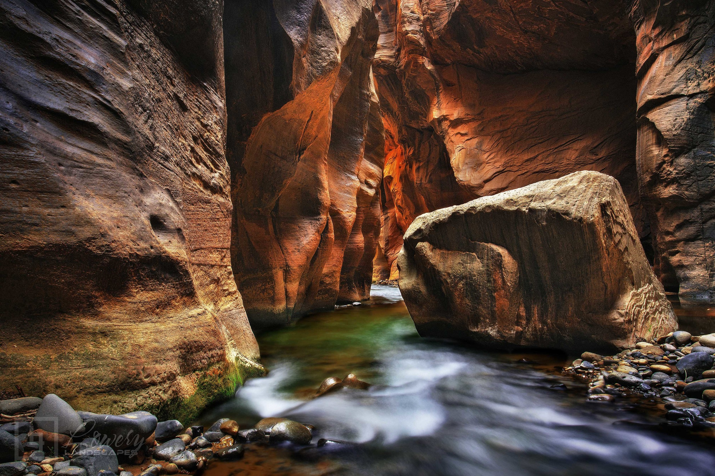 "Big Rock Guards the exit to the famed ""Wall Street"" section of the Virgin River Narrows in Zion National Park, Utah."