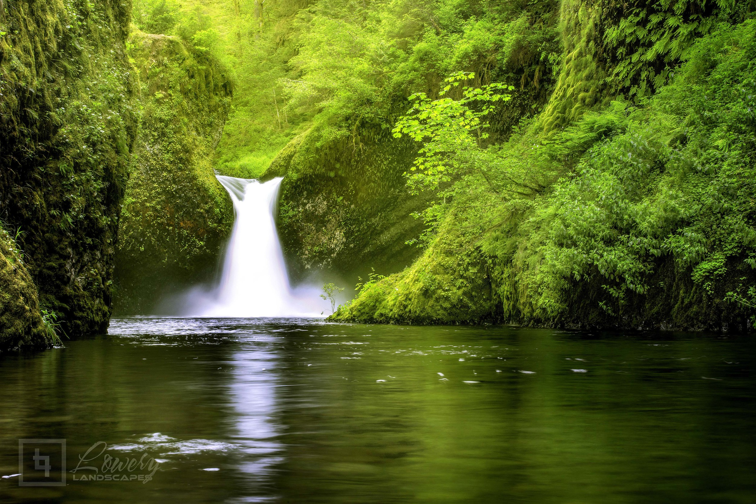 Punchbowl Falls may look small, but it plunges about 50 feet over this single vortex-like cascade into a beautiful but tumultuous splash pool.