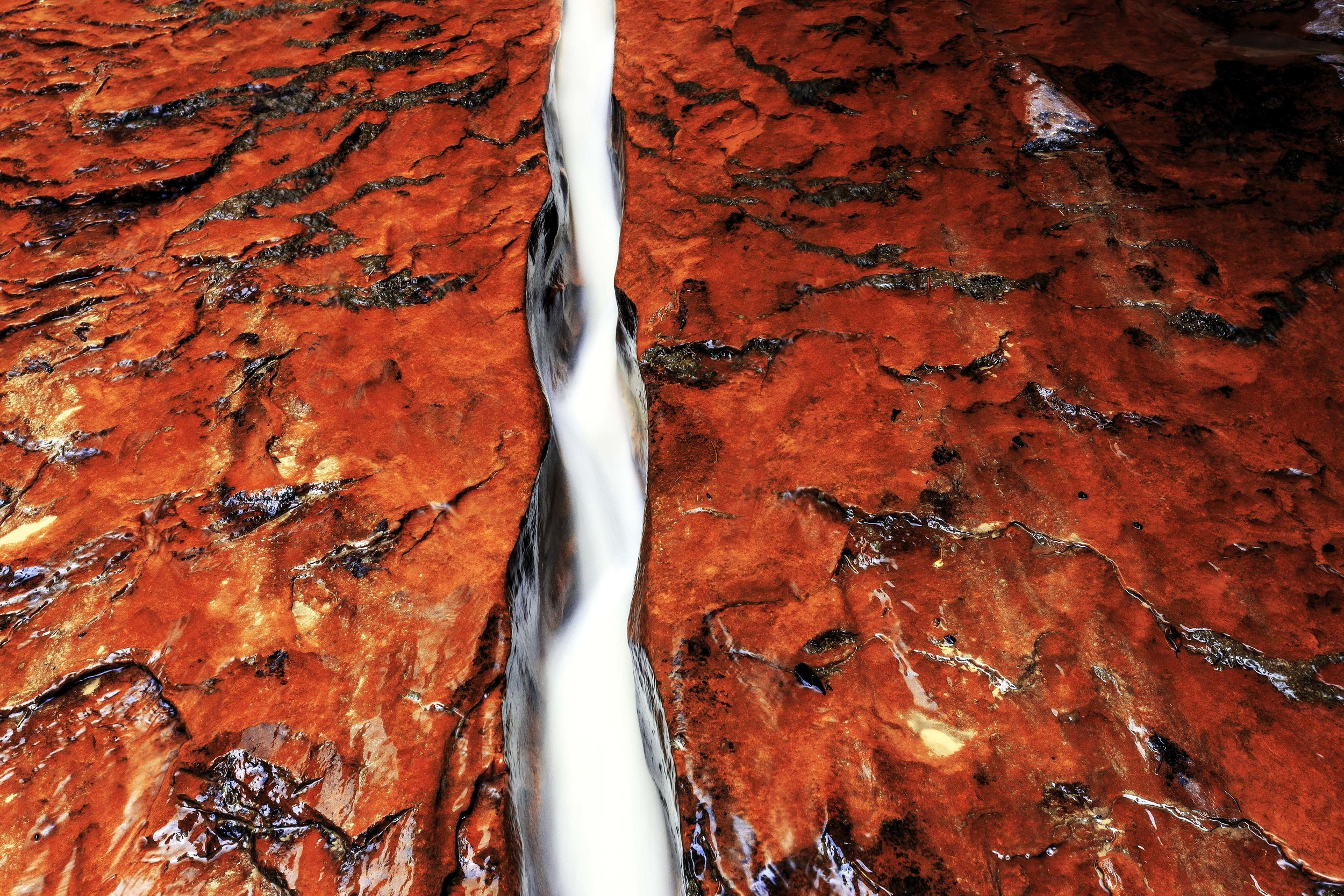 The water from the Subway canyon in Zion National Park is channeled into this narrow crack in the stone for a brief section of the creek, forming this striking contrast of white water and bright red stone.