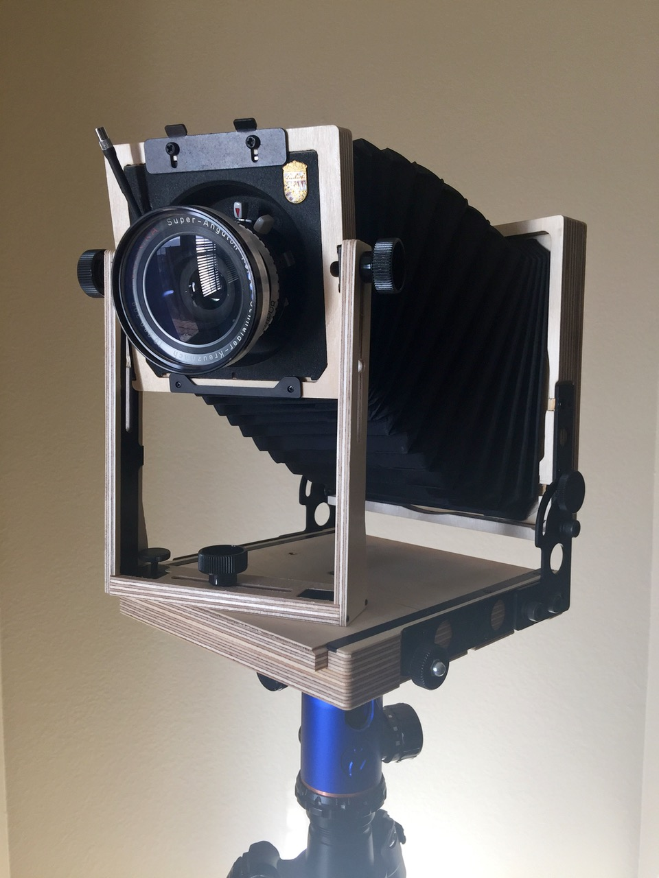 "Intrepid 4x5"" Field Camera with Schneider-Kreuznach 90mm ƒ/8 Super-Angulon lens mounted on the front standard. This camera was made by hand specifically for me at a small workshop in England in 2016."