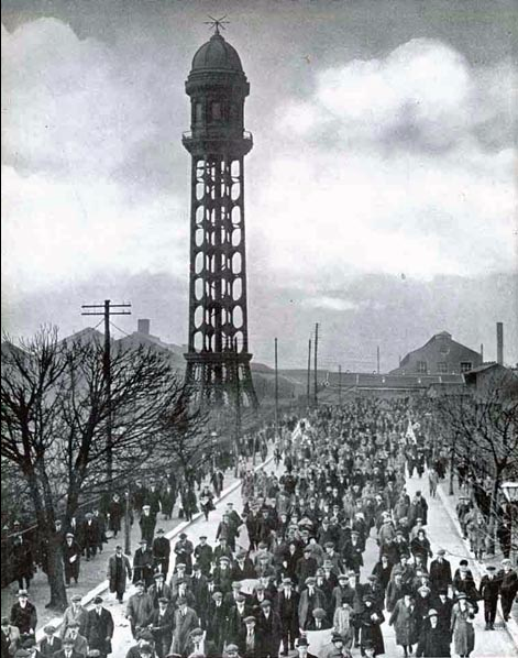 The water tower of the Westinghouse factory, Trafford Village. Image care ofMetropolitan Vickers
