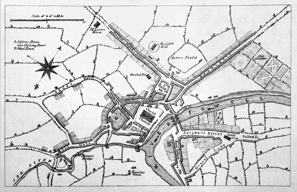 Radcliffe Hall pictured in a 1650 map of Manchester. Acresfield is the area of Cross Street and St Anns Square