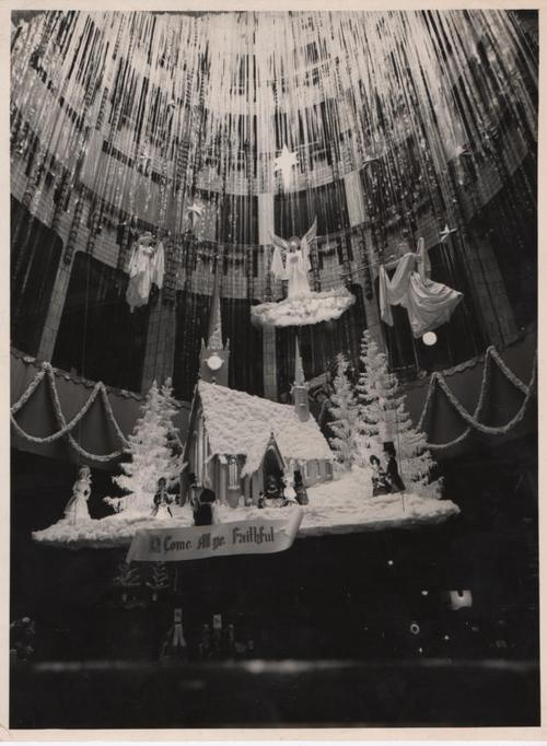 Very rare photos of inside the atrium, and Christmas displays spanning every floor. 1950s. Images, Roy Tootell