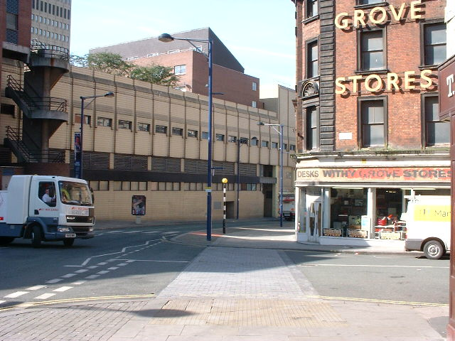 One of the housing blocks visible from Withy Grove in 2002 (Manchester Libraries)