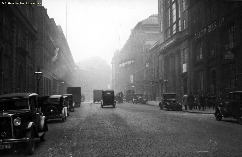 Church Street, 1930 (Right side is now Tesco, The Light Apartments, Unicorn pub, car park & remaining corner of building hosting Tib Street Horn)   Image: Manchester Libraries Ref m 01039