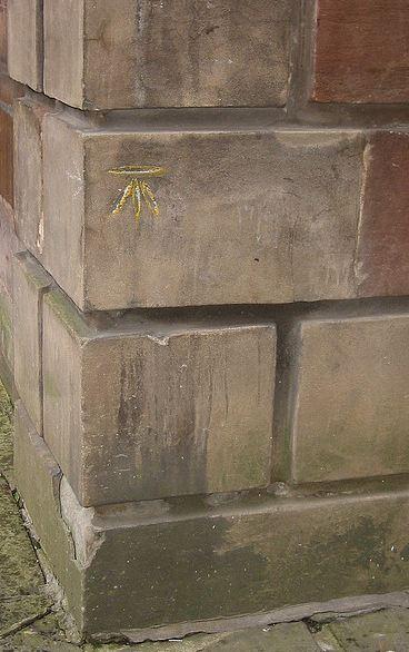 Surveyor's benchmark on St Ann's Church