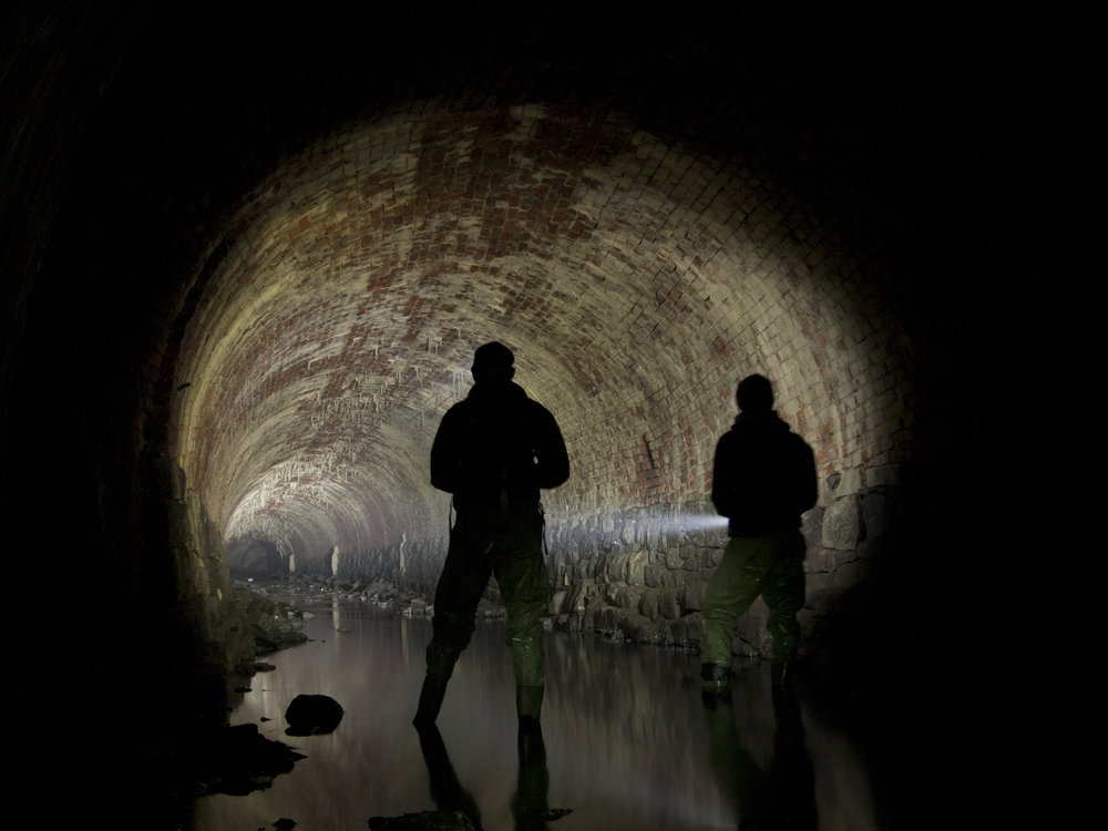 Inside the culverted Corn Brook. Thanks to  Gone Eighty Five for the image.