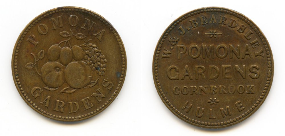 Pomona tokens care of Chetham's Library (some are also on display in Manchester Museum)