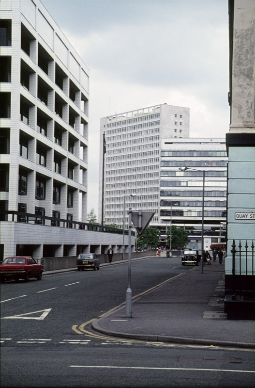 Byrom Street, Spinningfields, 1976, Image from Visual Resources Centre at Manchester Metropolitan University