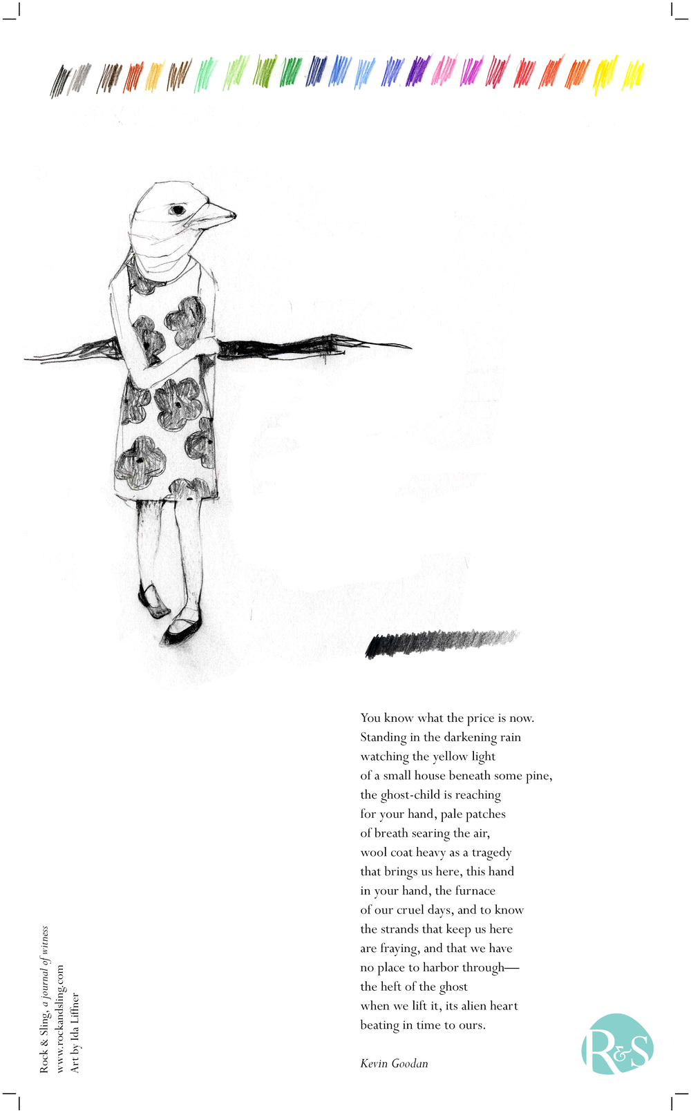 Broadside for Rock & Sling. Art by Ida Liffner. Poem by Kevin Goodan.