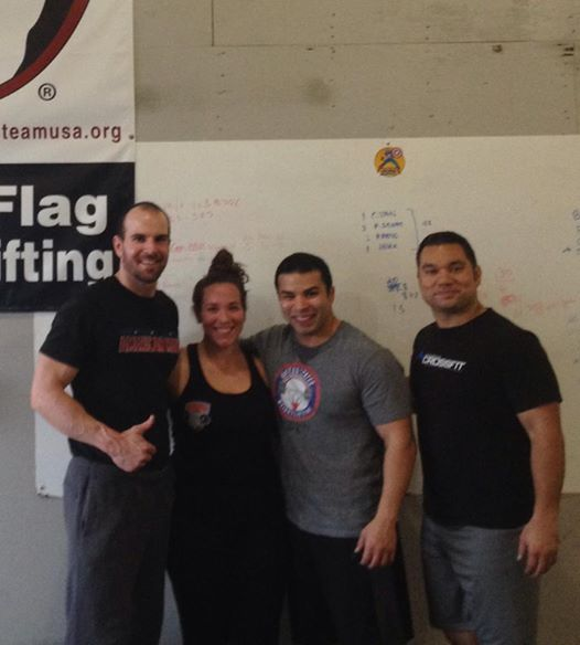 Coach Sheppard with Coach Camargo (far right) and attendees at the USAW certification she assisted him on in 2014