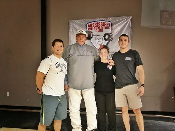 Coach Hatch (center) with Matt Bruce (far left) and MS Barbell's Amber and Tyler at the 2014 MS Weightlifting Championship