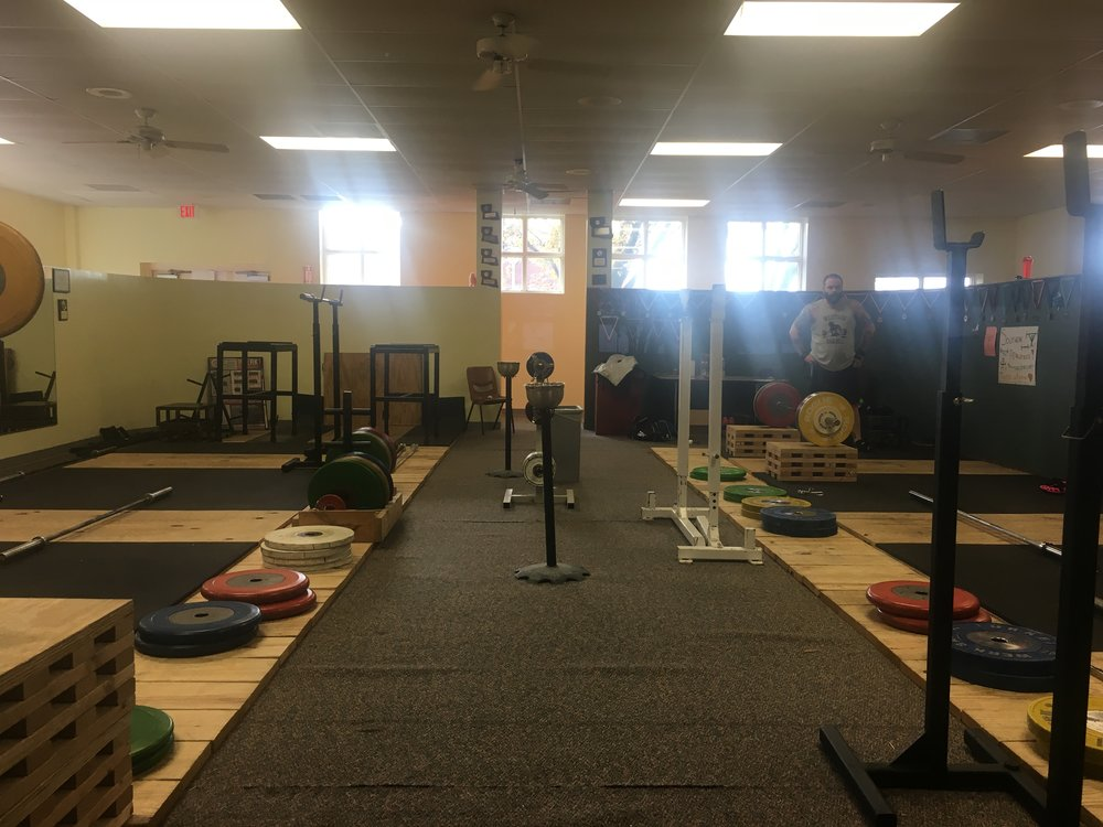 Partial view of our 8 platform olympic weightlifting facility in Brandon, Mississippi.