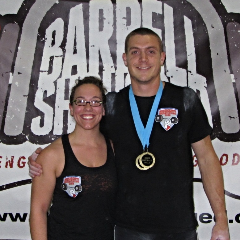 Team coaches Amber Sheppard, Esq. and Tyler Smith at the Barbell Shrugged Weightlifting Championships in 2013.