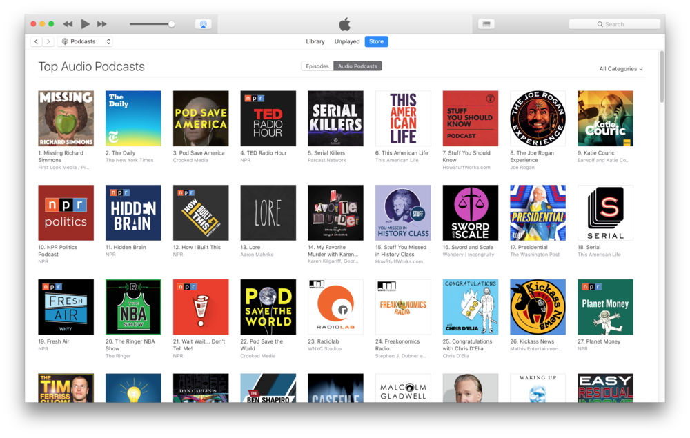 #1 Podcast on iTunes for each week's new release