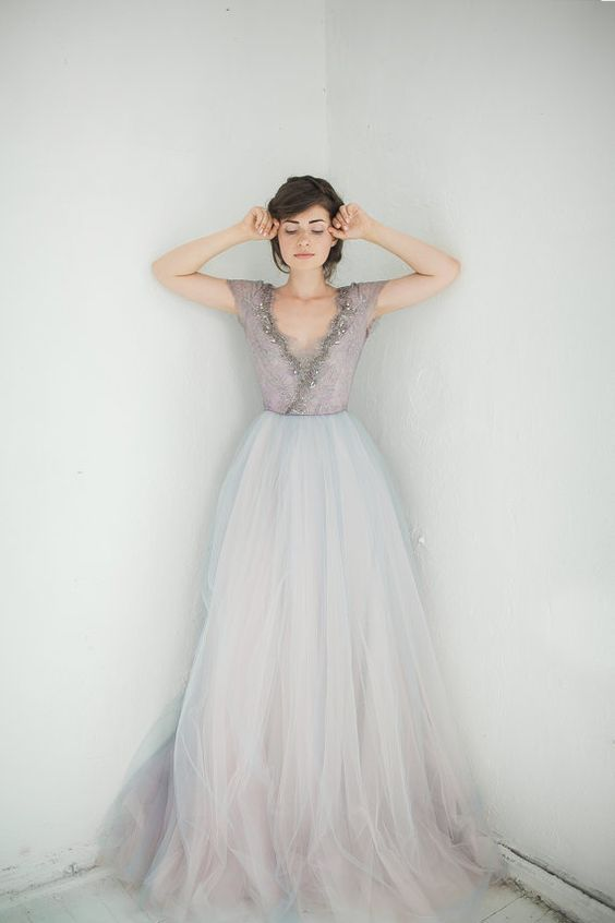 Ethereal wedding dress dreams from carousel bespoke hand painted lavanda junglespirit Gallery
