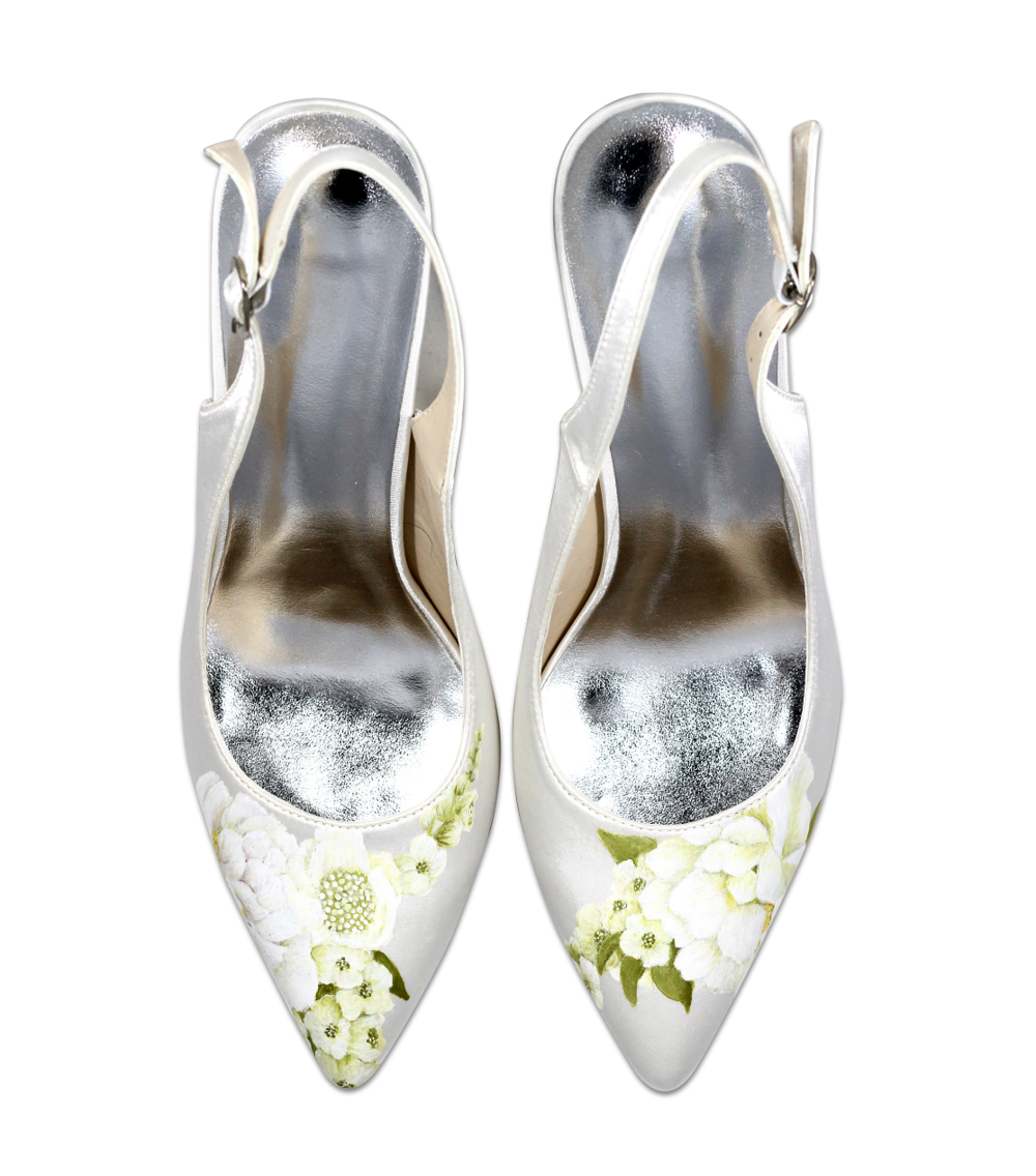 Whites rose slingback wedding shoe