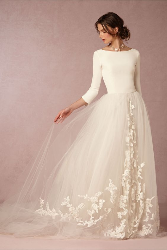 Olivia Palermo style BHLDN wedding dress