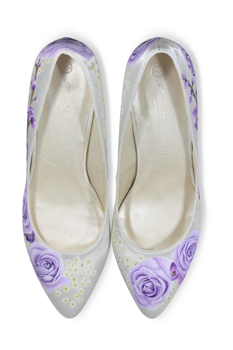 Lilac rose handpainted wedding shoes