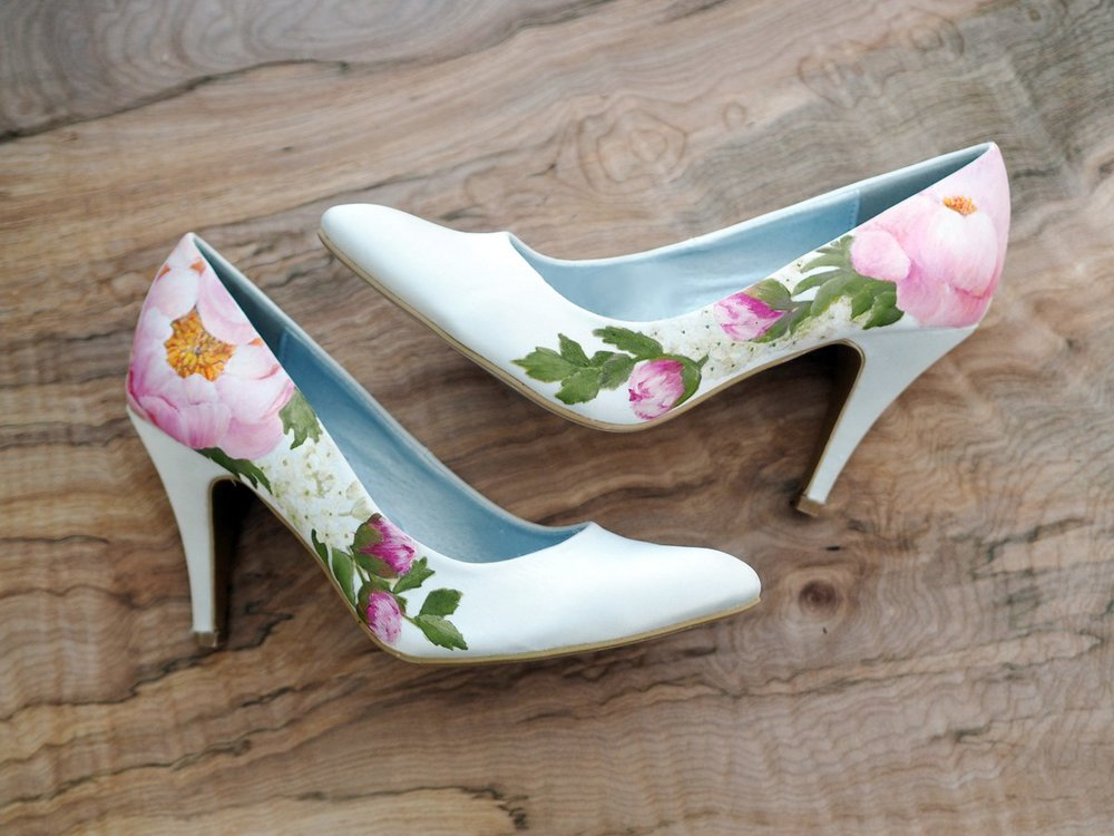 Coral Charm peony floral print wedding shoes