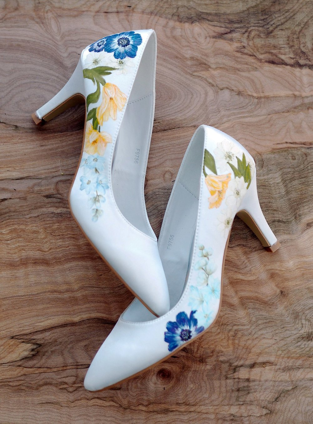 Wildflower floral print wedding shoes