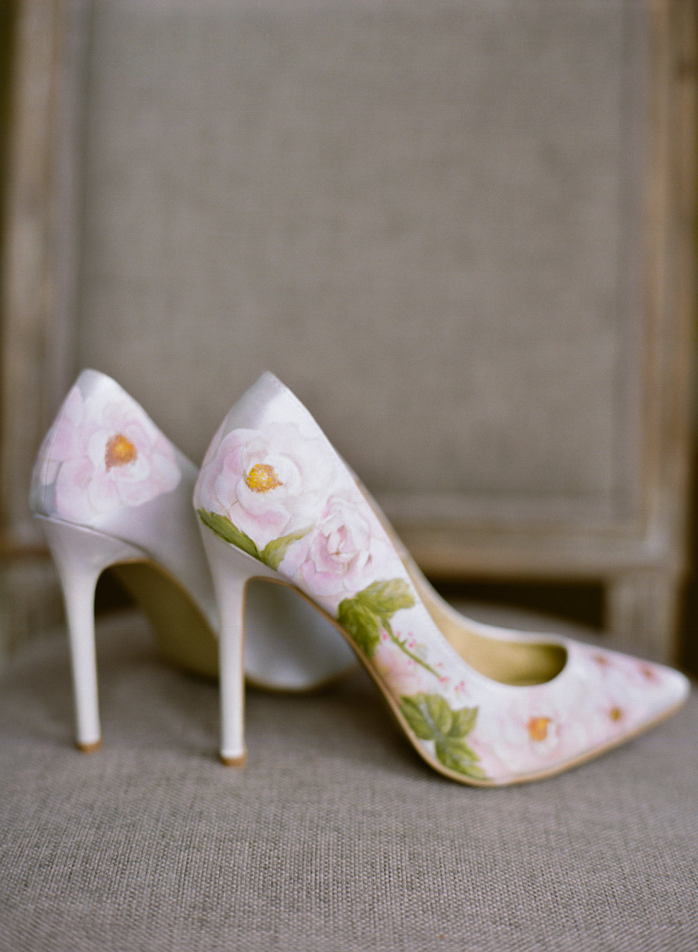 Pale pink rose floral print wedding shoes