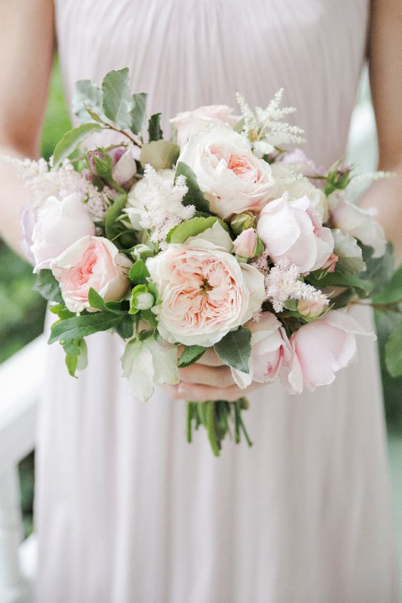 Pale pink rose wedding bouquet