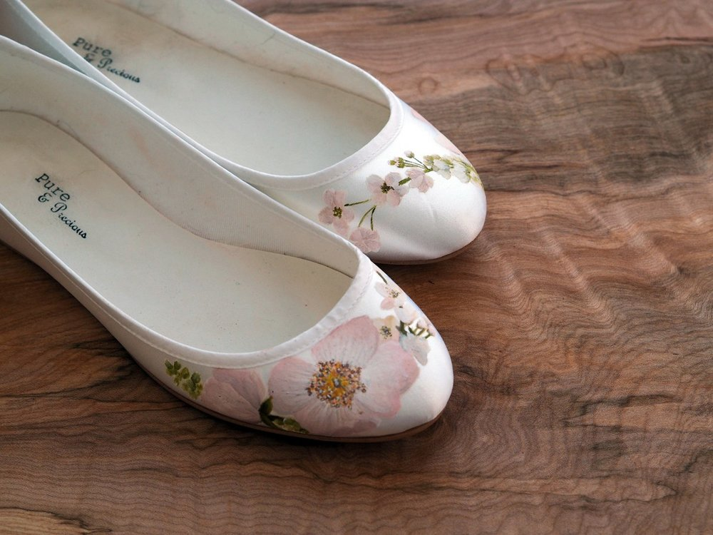 Pink Rose and Cherry Blossom print flat wedding shoes