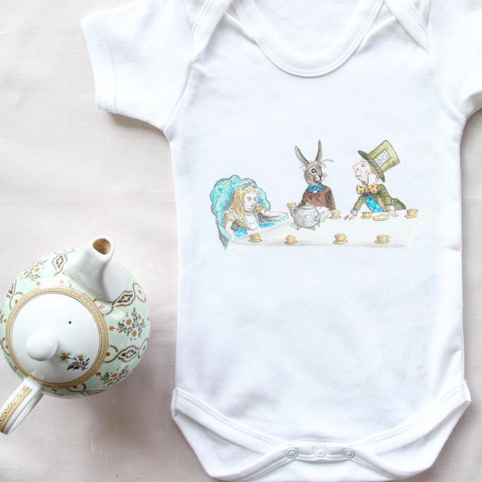 Mad Hatters Tea Party Baby Grow