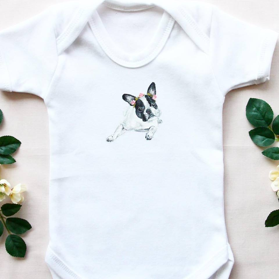 Frenchie print baby-grow
