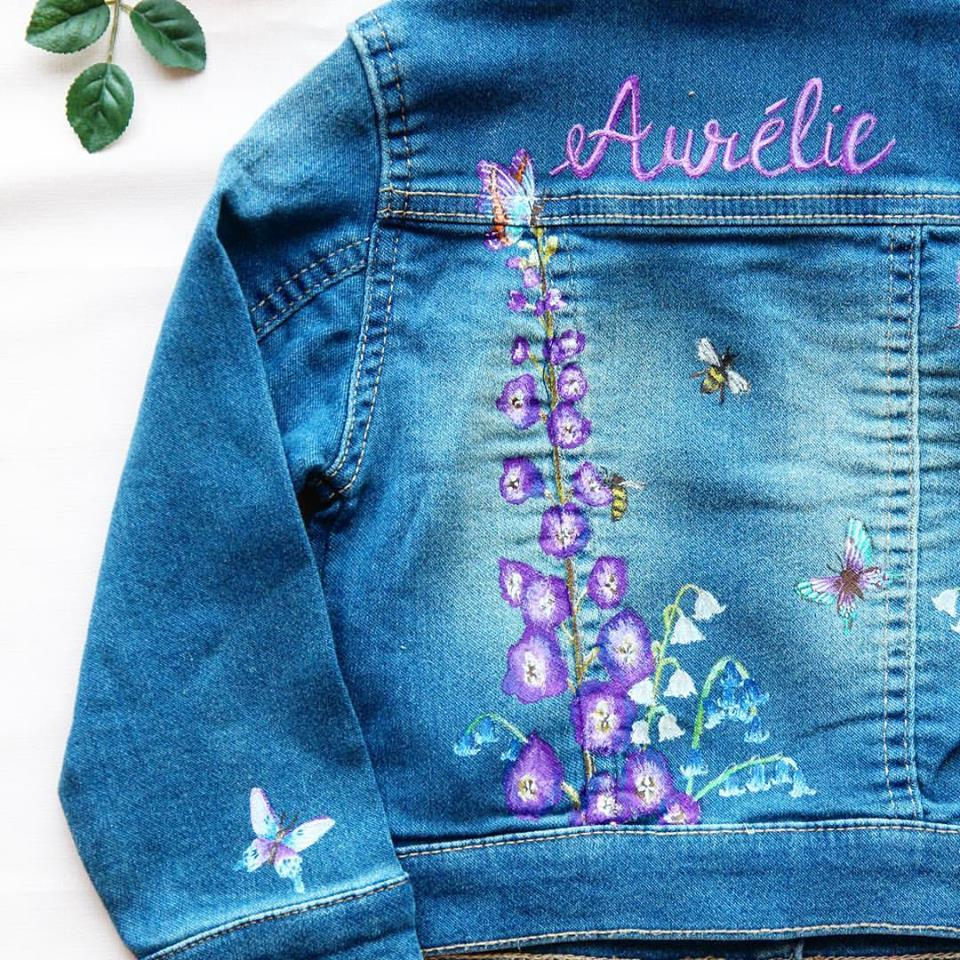 Meadow print customised denim jacket