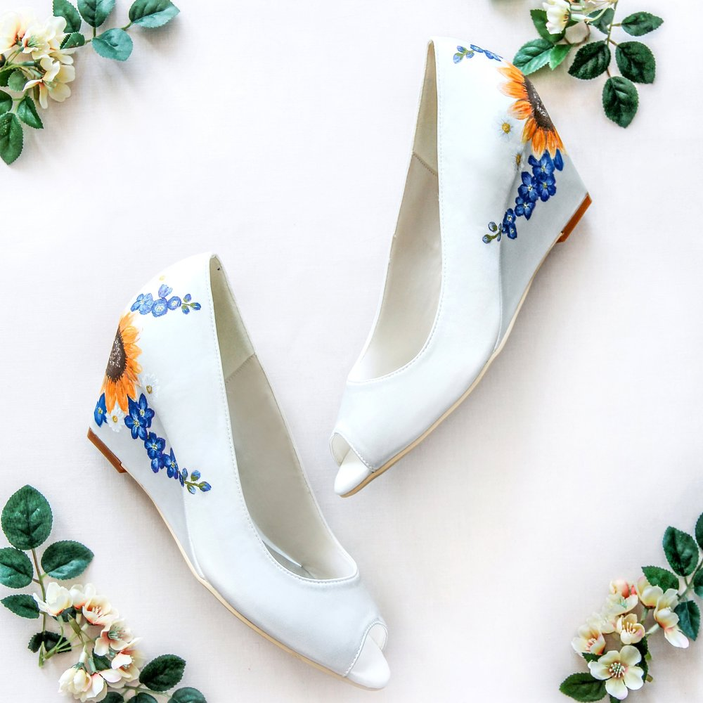 Sunflower & Delphinium Wedges - Hand-painted sunflowers with blue delphiums and sweet camomiles on ivory satin wedges.